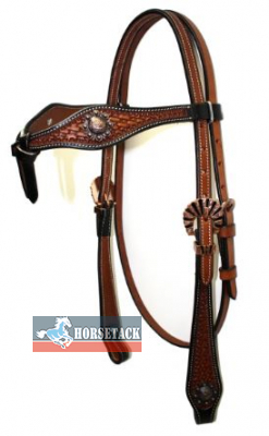 Show headstall with rose gold Conchas