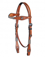 Headstall Tooled with Antique Buckles #HS-112