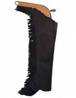 Tan suede showchaps with fringes #63020-BE