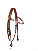 Beaded Headstall Indian Sky Dark Oiled