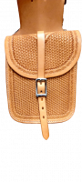 Horn bag  leather, with basket tooling