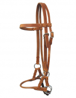 Sidepull with round leather-noseband #SPLN-01